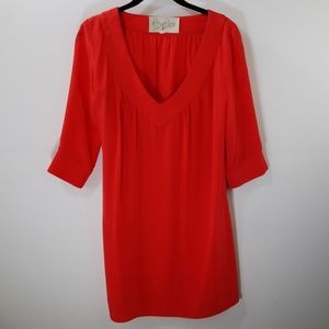 Rory Beca Red Silk V-neck Tunic Top Size S